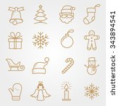 set holiday and christmas icons | Shutterstock .eps vector #343894541