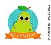 pear  cute fruit vector... | Shutterstock .eps vector #343905029
