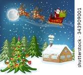 merry christmas card.... | Shutterstock .eps vector #343909001