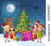 merry christmas card.... | Shutterstock .eps vector #343909007
