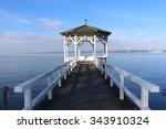famous wooden pier gazebo in... | Shutterstock . vector #343910324