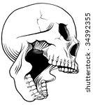 screaming vector skull  ...   Shutterstock .eps vector #34392355