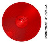 old red plastic vinyl musical... | Shutterstock .eps vector #343926665