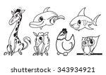 cartoon animals vector... | Shutterstock .eps vector #343934921