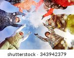 group of happy snowboarders and ... | Shutterstock . vector #343942379