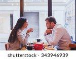 eating in restaurant  happy... | Shutterstock . vector #343946939