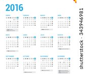 calendar 2016 spain with... | Shutterstock .eps vector #343946981