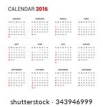 calendar 2016 sunday first | Shutterstock .eps vector #343946999