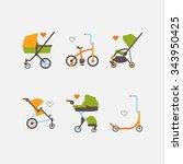 kids transport thin line icons... | Shutterstock .eps vector #343950425
