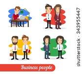 cartoon business people talking ... | Shutterstock .eps vector #343955447