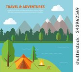 camping with tend and bonfire... | Shutterstock .eps vector #343962569