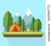 camping with tend and bonfire... | Shutterstock .eps vector #343964771