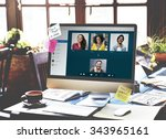 video call facetime chatting... | Shutterstock . vector #343965161