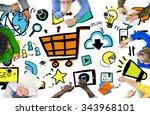 diversity casual people online... | Shutterstock . vector #343968101