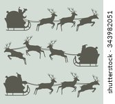 Silhouettes Of Santa Claus On...
