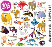big vector set of cute funny... | Shutterstock .eps vector #343991669