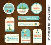 set of flat design merry... | Shutterstock .eps vector #343998584