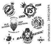 set of vintage hip hop and rap... | Shutterstock .eps vector #344014694