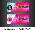 pink gift voucher template ... | Shutterstock .eps vector #344025689