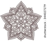 ornament black white card with... | Shutterstock .eps vector #344027279