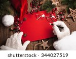 santa claus with gifts and red... | Shutterstock . vector #344027519