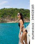 sexy women on yacht | Shutterstock . vector #344028185