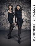 beautiful pregnant in black...   Shutterstock . vector #344032271