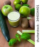 green smoothie with different... | Shutterstock . vector #344034401