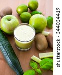 green smoothie with different... | Shutterstock . vector #344034419