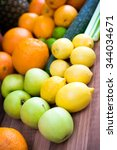 different fruits and vegetables ... | Shutterstock . vector #344034671