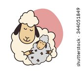 sheep mother with lamb on white ... | Shutterstock .eps vector #344051849