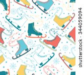 ice skates seamless patterns... | Shutterstock .eps vector #344059094