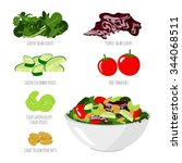 salad with vegetables on white... | Shutterstock .eps vector #344068511