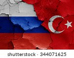 flags of russia and turkey... | Shutterstock . vector #344071625