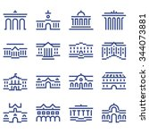 set of icons of the buildings