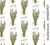 savory herb seamless pattern ... | Shutterstock .eps vector #344083907