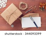 rustic style gift box and... | Shutterstock . vector #344093399