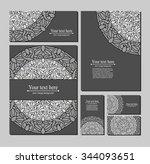 contour  monochrome mandala.... | Shutterstock .eps vector #344093651
