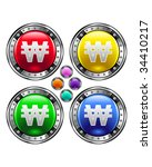 Korean won currency icon on round colorful vector buttons suitable for use on websites, in print materials or in advertisements.  Set includes red, yellow, green, and blue versions. - stock vector
