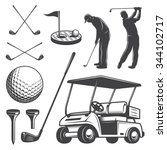Set Of Vintage Golf Elements....