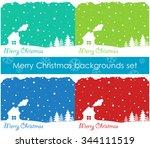 merry christmas backgrounds set....   Shutterstock .eps vector #344111519