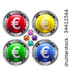 Euro currency icon on round colorful vector buttons suitable for use on websites, in print materials or in advertisements.  Set includes red, yellow, green, and blue versions. - stock vector