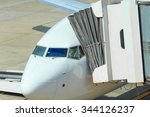 the plane at the airport on... | Shutterstock . vector #344126237