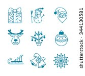 collection christmas icons with ... | Shutterstock .eps vector #344130581