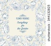 frame of roses isolated on... | Shutterstock .eps vector #344132825