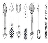 tribal indian arrow set. ethnic ... | Shutterstock .eps vector #344144864