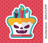 halloween candle flat icon with ... | Shutterstock .eps vector #344151599