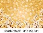 spring japanese paper cherry... | Shutterstock .eps vector #344151734