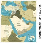 map of middle east and asia.... | Shutterstock .eps vector #344162945