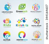 logo set kids arts and... | Shutterstock .eps vector #344164607